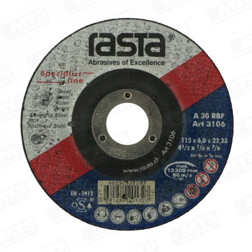 """Disco De Desbaste 4 1/2 X 1/4"""" Metal Rasta"""
