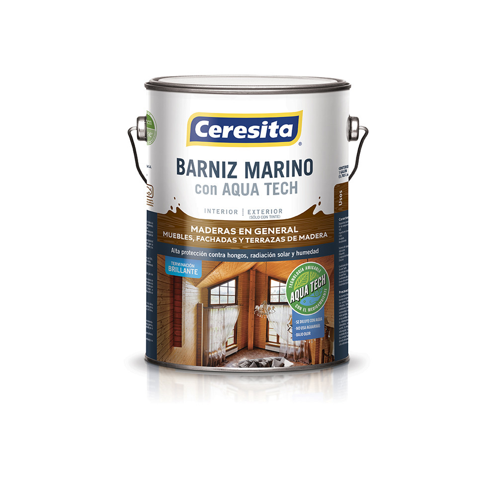 Barniz Marino Base Agua Ultra Roble Galon