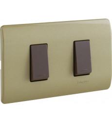 Interruptor 9/15 Placa Dorada Y Mod. Cafe Genesis
