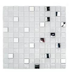 Malla Mosaico Blanco Plata 30x30cm