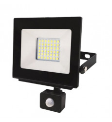 Reflector Led Slim 30w C/sensor Luz Fria Want